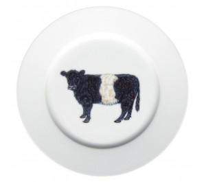 Belted Galloway Cow 19cm Flat Rimmed Plate by Richard Bramble