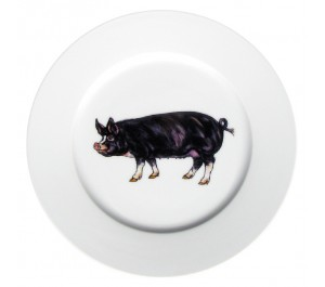 Berkshire Pig 19cm Flat Rimmed Plate by Richard Bramble