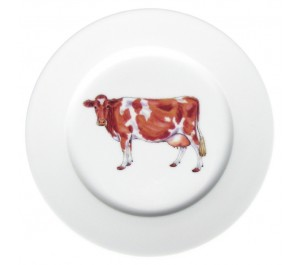 Guernsey Cow 19cm Flat Rimmed Plate by Richard Bramble