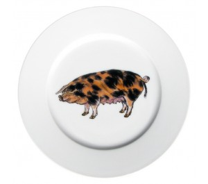 Oxford Sandy Black Pig 19cm Flat Rimmed Plate by Richard Bramble
