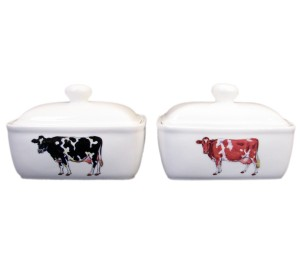 Holstein-Friesian & Guernsey Cow Butter Dish by Richard Bramble