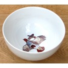 Richard Bramble Grey English Partridge 15cm Bowl made by Jersey Pottery