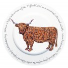 Richard Bramble Highland Cow 30cm Flat Rimmed Plate