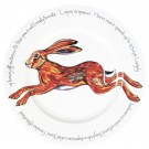 Hare leaping 30cm Flat Rimmed Plate