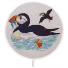 Richard Bramble Puffins at Sea Aga style linen hob pad