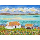 Hebridean landscape Black House over Valley Sands, North Uist, Painting