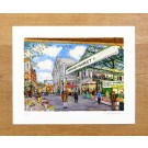 Richard Bramble Borough Market Limited edition print -Towards Ginger Pig from Stoney Street, Borough Market, medium size wooden background