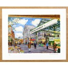 Richard Bramble Borough Market Limited edition print -Towards Ginger Pig from Stoney Street, Borough Market, large size wooden background