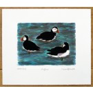 Puffins at Sea Print by Richard Bramble