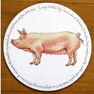 Large White Pig Tablemat by Richard Bramble