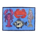 Turtle Mat -  Lobster Blue Design Medium Size by Richard Bramble