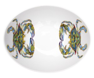 Richard Bramble Blue Crab 18cm Oval Bowl Limited Edition