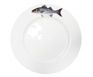 Richard Bramble Sea Bass Motif 26cm Flat Rimmed Plate