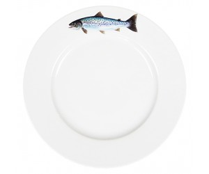 Richard Bramble Sea Trout Motif 26cm Flat Rimmed Plate