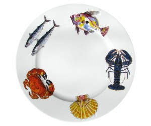 Richard Bramble Fish & Shellfish 30cm Flat Rimmed Plate