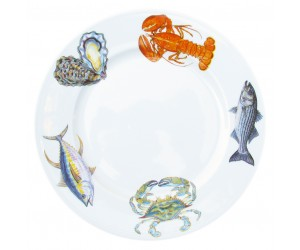 Richard Bramble Fish & Shellfish US East Coast 30cm Flat Rimmed Plate