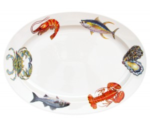 "Richard Bramble Fish & Shellfish US East Coast 39cm Oval (15.4"")"