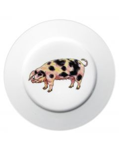 Gloucestershire Old Spot Pig 19cm Flat Rimmed Plate by Richard Bramble