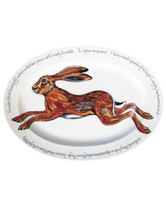39cm Oval Hare Leaping