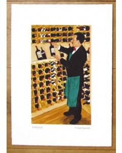 Making a selection from the Wine Cellar, Mosimanns Club London