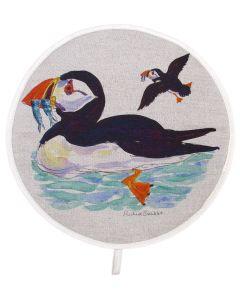 Richard Bramble Puffins at Sea Aga style linen hob pad