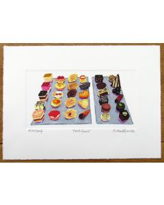 Petit Fours by chef Tom Aitkens painting by Richard Bramble
