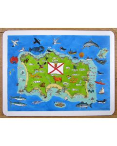 Jersey Map LARGE Tablemat by Richard Bramble