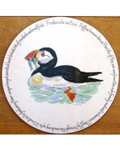 Puffin Swimming Tablemat, melamine, corked back, by Richard Bramble