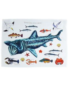 British Marine Species Basking Shark Tea Towel by Richard Bramble