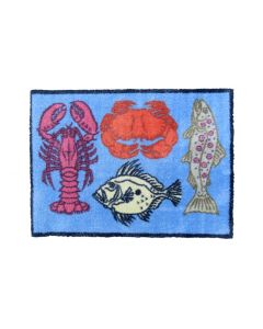 Richard Bramble Fish & Shellfish Design MEDIUM Size Floor Mat
