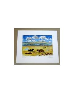 Richard Bramble Highland Cows on Kyles beach, North Uist, Limited Edition Print