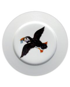 Puffin Flying 19cm Flat Rimmed Plate by Richard Bramble