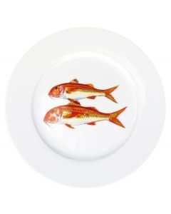 Red Mullet 19cm Flat Rimmed Plate by Richard Bramble