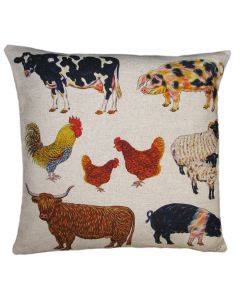 Richard Bramble Farmyard Linen Cushion limited edition