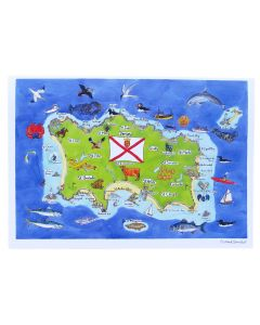 Richard Bramble Jersey Island Map Large Greeting Card