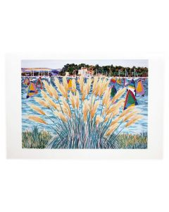 Richard Bramble Poole Harbour Windsurfers & Pampas Grass Greeting Card